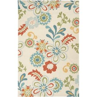 Hand-hooked Bright Vanilla Indoor/Outdoor Floral Rug (2' x 3')