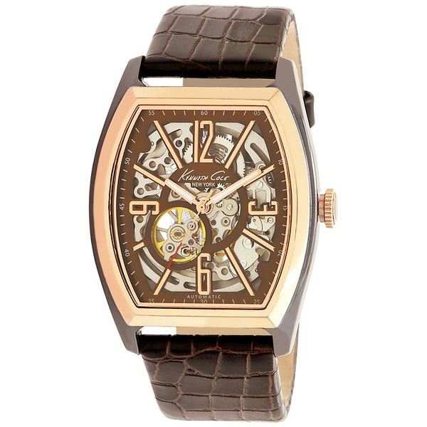 Kenneth Cole Men's Automatic Brown Leather Strap Automatic Watch