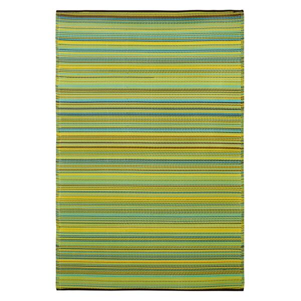 Prater Mills Indoor/Outdoor Reversible Yellow/ Green Rug