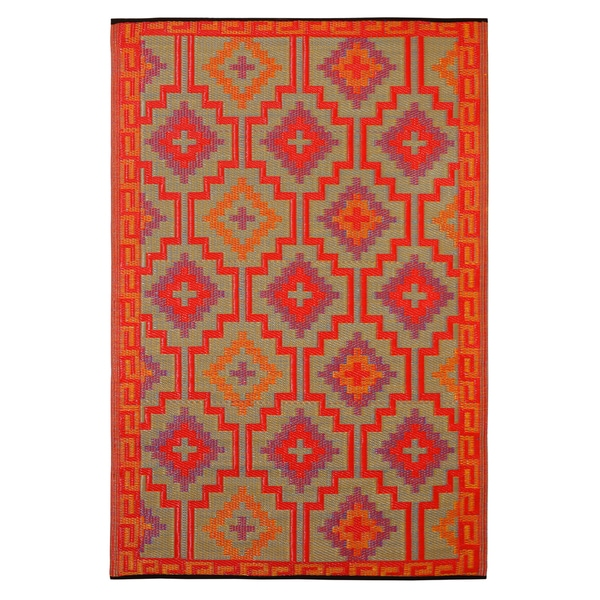 Prater Mills Indoor/Outdoor Reversible Orange and Purple Rug