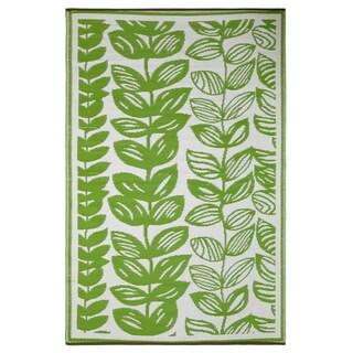 Prater Mills Indoor/Outdoor Reversible Green/ Cream Rug
