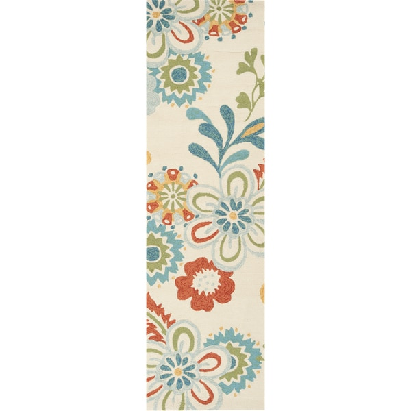 Bright Outdoor Area Rugs: Bright Hand-hooked Indoor/Outdoor Floral Area Rug