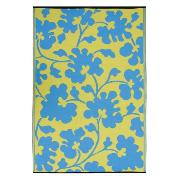 Prater Mills Indoor/ Outdoor Reversible Turquoise/ Lemon Yellow Rug