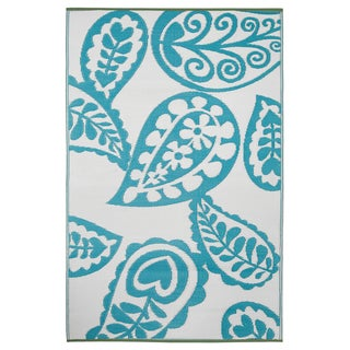 Prater Mills Indoor/Outdoor Reversible Blue/ White Rug