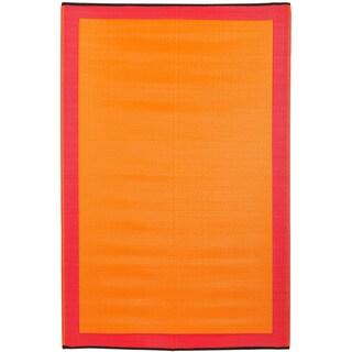 Prater Mills Indoor/ Outdoor Reversible Orange/ Red Rug