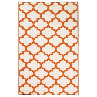 Prater Mills Indoor/ Outdoor Reversible Orange/ White Rug
