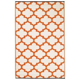 Prater Mills Indoor/ Outdoor Reversible Orange/ White Rug