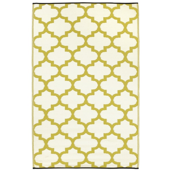 Prater Mills Indoor/ Outdoor Reversible Green/ White Rug