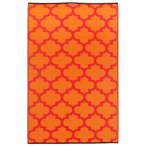 Prater Mills Indoor/ Outdoor Reversible Orange/ Red Rug