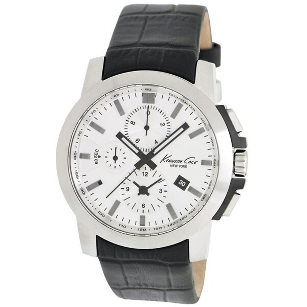 Kenneth Cole Men's Dress Sport Black Leather and Silver Dial Watch