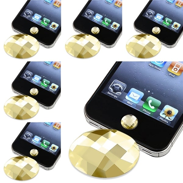 BasAcc Amber Diamond Home Button Sticker for Apple® iPhone 3/ 4 (Pack of 6)