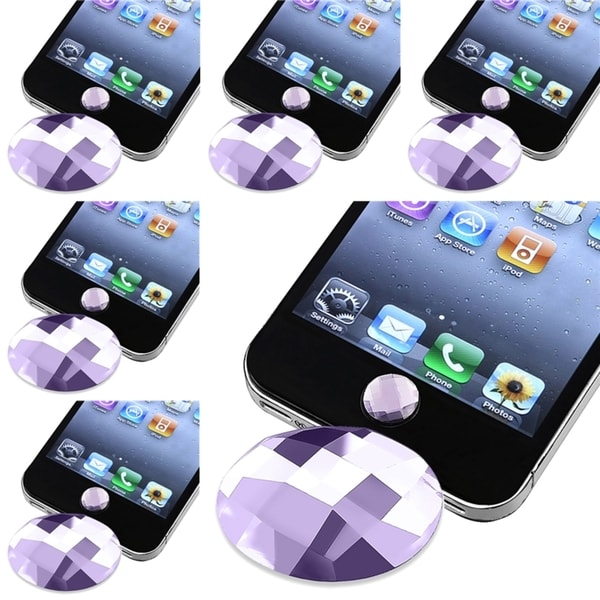 BasAcc Purple Diamond Home Button Sticker for Apple® iPhone 3/ 4 (Pack of 6)