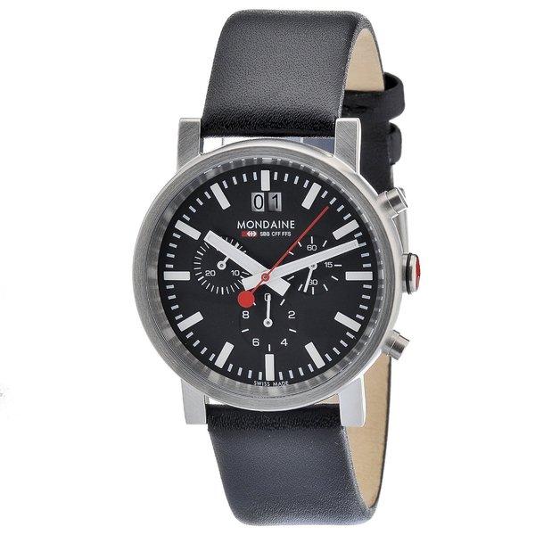 Mondaine Men's Black/ White Steel Chronograph Watch