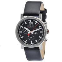 Mondaine Men's A690.30304.14SBB 'Evo Big' Black Dial Black Leather Strap Chronograph Swiss Quartz Watch