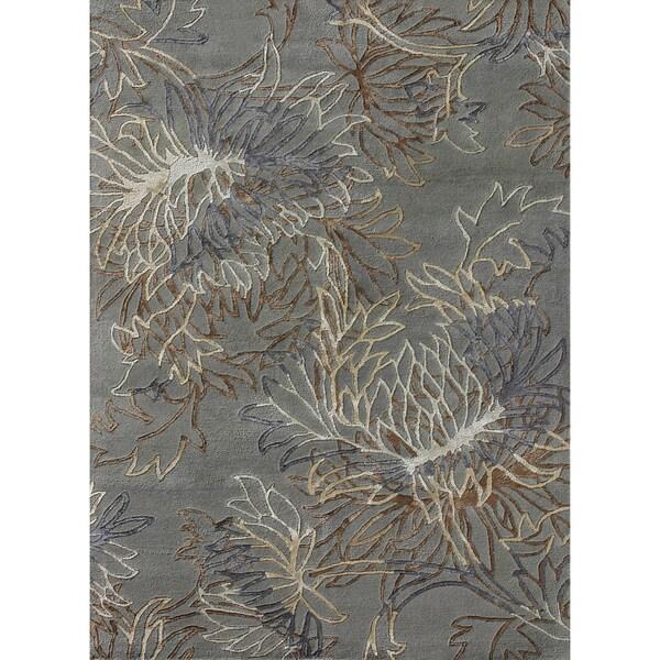 Hand tufted Jackson Blue Wool Rug (3'6 x 5'6)
