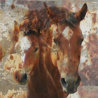Art in Style Brown Horse and Foal Giclee Canvas Wall Art