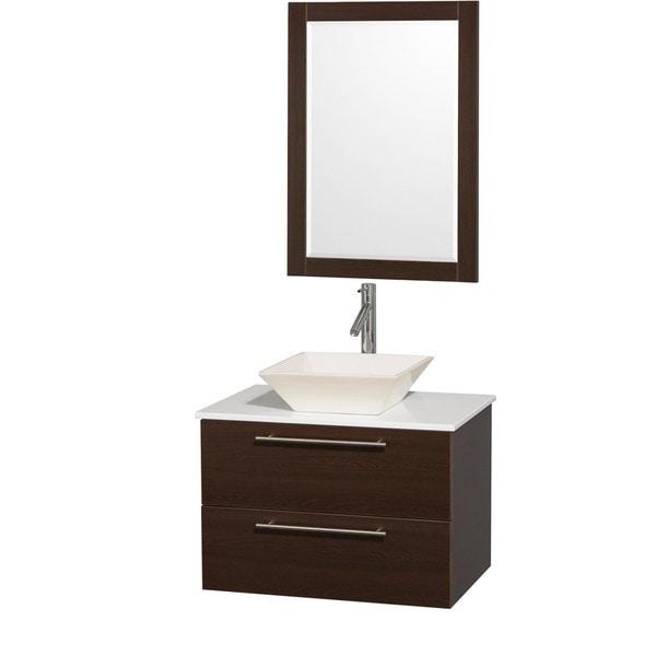 Porcelain Sinks Bathroom Vanities : ... Amare Espresso 30-inch Single Bathroom Vanity with Bone Porcelain Sink