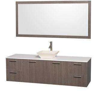 Wyndham Collection Amare Gray Oak 72-inch Single Vanity Set With Bone Porcelain Sink