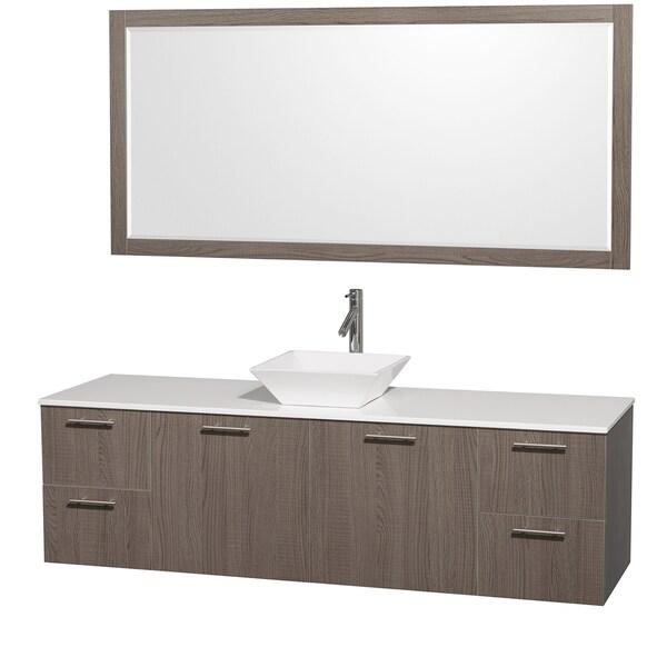 Wyndham collection amare espresso 30 inch single bathroom vanity with - Wyndham Collection Amare Gray Oak 72 Inch Single Vanity