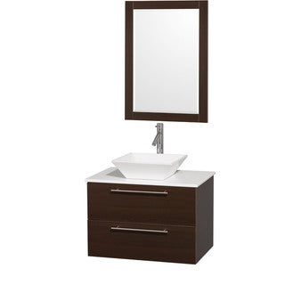 Wyndham Collection Amare Espresso 30-inch Single Bathroom Vanity with White Porcelain Sink