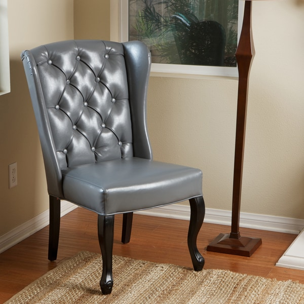 Shop Olivier Tufted Grey Bonded Leather Accent Chair