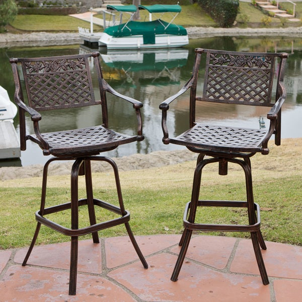 sebastian cast aluminum barstool set of 2 by christopher knight home