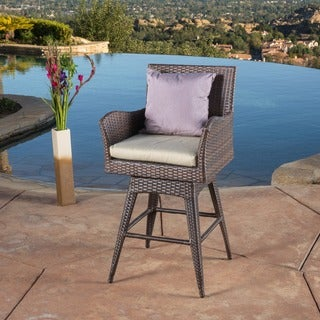 Braxton Outdoor Wicker Swivel Armed Barstool with Cushion by Christopher Knight Home