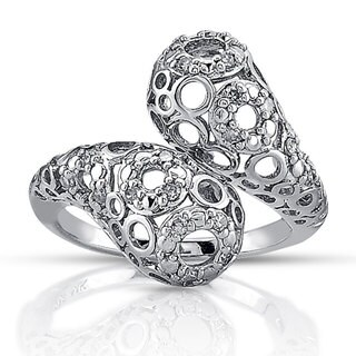 Victoria Kay Sterling Silver 1/4ct TDW Diamond Web-style Bypass Band (J-K, I2-I3)