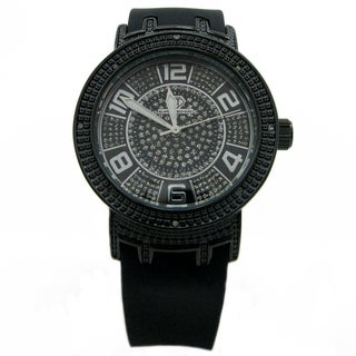 Joe Rodeo Women's 'Super Techno' Stainless Steel Black Diamond-accented Watch