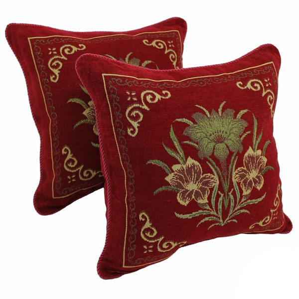 Blazing Needles 'Exotic Flowers' Chenille Corded Throw Pillows (Set of 2)
