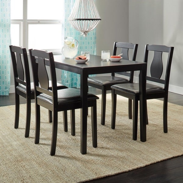 Simple living black 5 piece kaylee dining set free for 5 piece living room table set