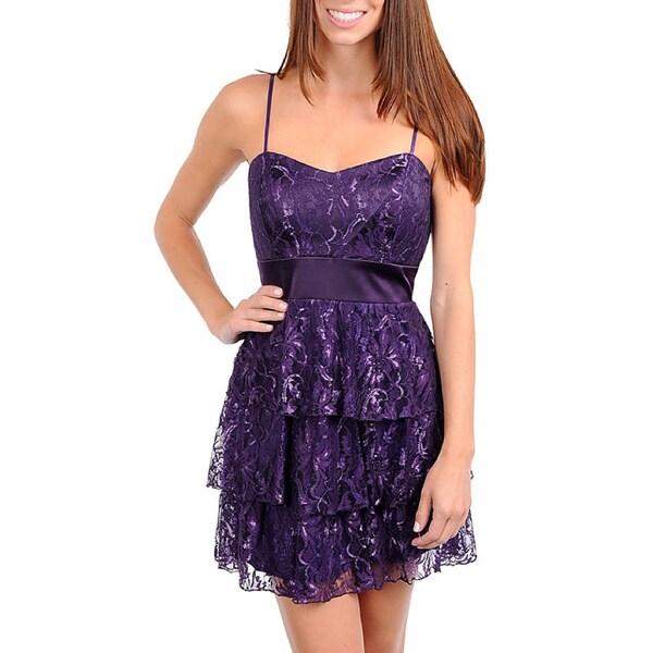 247 Frenzy Junior's Purple Lace Spaghetti Strap Dress