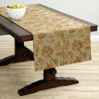 Extra Wide Italian Woven Orange Floral Table Runner 95 x 26 inches