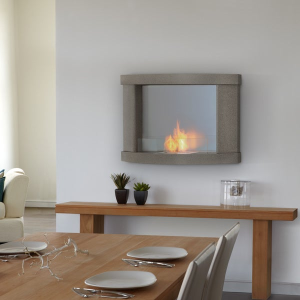 Real Flame 'Meridian' Pebble Grey Wall Fireplace