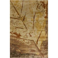 Hand-knotted Leaves Bronze Semi-Worsted New Zealand Wool Area Rug - 2' X 3'