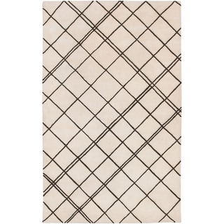 Hand-tufted Diamond Parchment Geometric Lines Wool Rug (9' x 13')