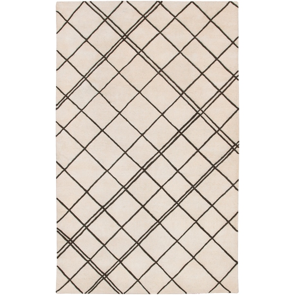 Hand-tufted Diamond Parchment Geometric Lines Wool Area Rug (9' x 13')