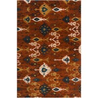 Hand-tufted Rust Ikat Cumin New Zealand Wool Area Rug (9' x 13')