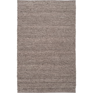 Hand-woven Casual Solid Grey Wool Rug (3' x 5')