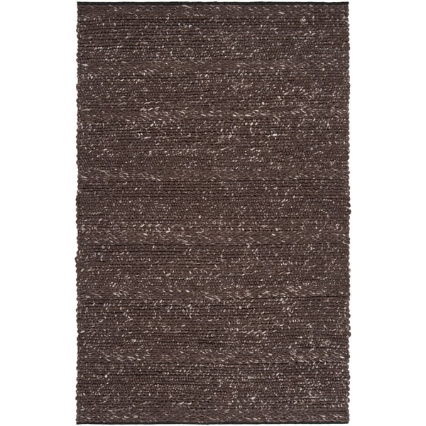 Hand-woven Casual Solid Brown Wool Area Rug (9' x 13')