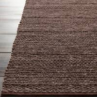 Hand-woven Casual Solid Brown Wool Area Rug - 9' x 13'