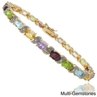 Dolce Giavonna 18k Gold Overlay Gemstone and Diamond 'S' Link Bracelet