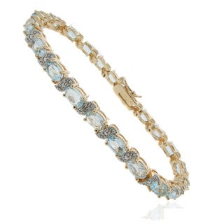 Dolce Giavonna 18k Gold Overlay Gemstone and Diamond 'S' Link Bracelet