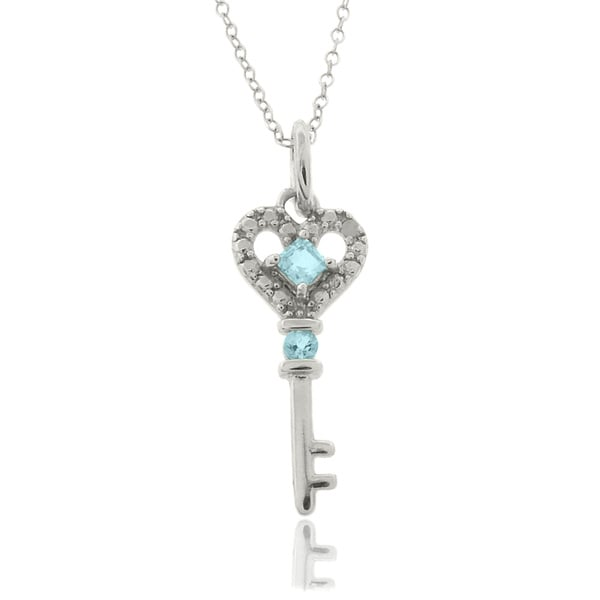 Dolce Giavonna Sterling Silver Blue Topaz and Diamond Accent Key Necklace
