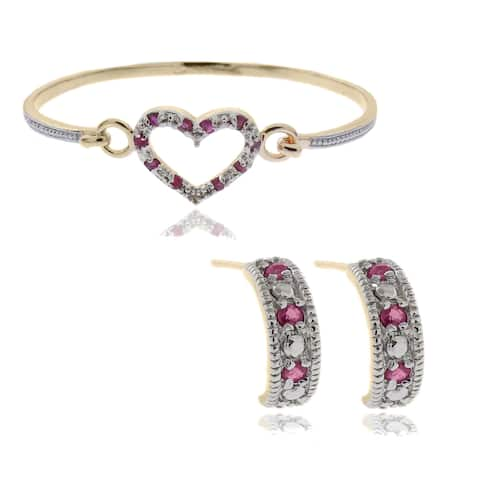 Dolce Giavonna 18k Gold Overlay Ruby and Diamond Accent Heart Jewelry Set