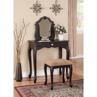 Espresso One Drawer Vanity And Stool Set Free Shipping