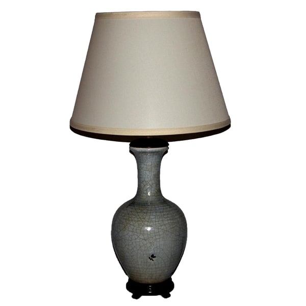 Crown Lighting 1-light Distressed Light Blue Crackle Vessel Table Lamp