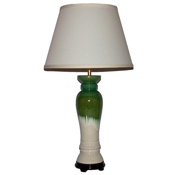 Crown Lighting 1-light White with Green and Blue Drip Column Table Lamp