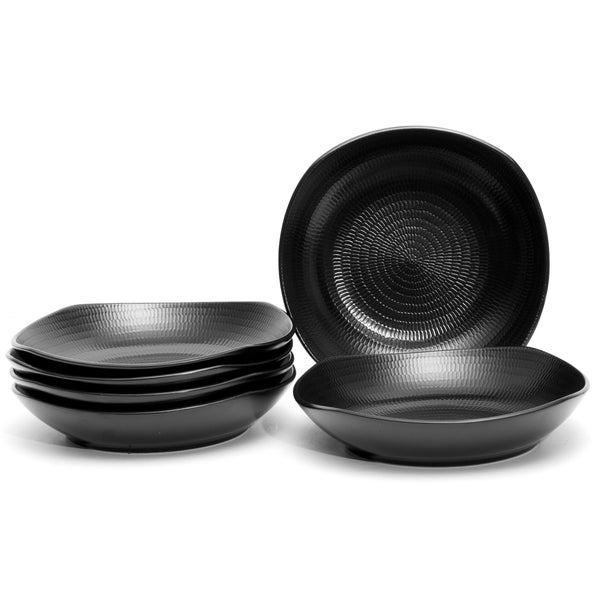 Red Vanilla Black Rice 9 Inch Pasta Bowls Set Of 6