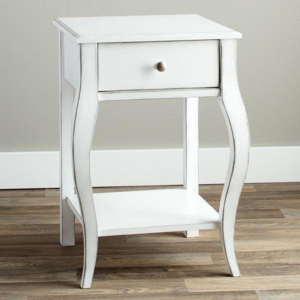 Alexandra Brush White 1 Drawer Nightstand Free Shipping